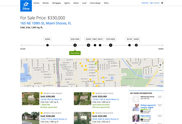 Zillow's Nearby Sales Comps Report